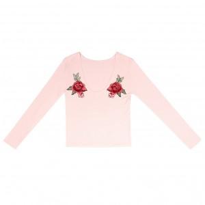 Full Sleeved Vintage Style Slim Fit Top - Pink