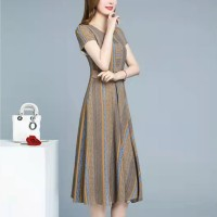 Ladies Elegant Striped Fashion Dress - Blue Yellow
