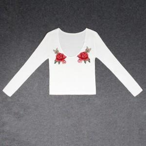 Full Sleeved Vintage Style Slim Fit Top - White