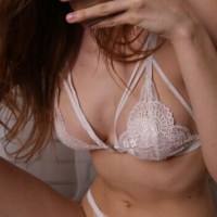 Caged Floral Lace Pattern Bra - White