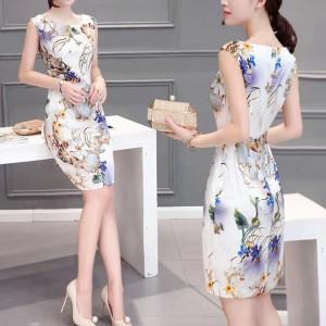 Women Sleeveless Floral Slim Elegant Dress - White Blue