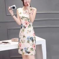 Women Sleeveless Floral Slim Elegant Dress - White Pink