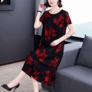 Women Short Sleeves Floral Elegant Dress - Black Red