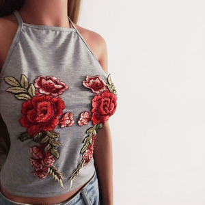 Thread Art Floral Embroidery Halter Neck Top - Gray
