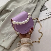 Alligator Pattern Pearl Solid Color Women Mini Shoulder Bag - Purple