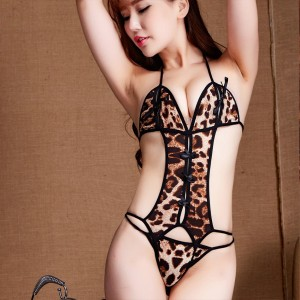 Women Sexy Ultra Thin Breathable Lingerie set - Brown Leopard