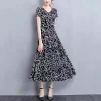 Ladies Fashion Elegant Short Sleeves Long Dress - Black