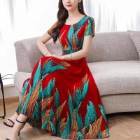 Women Elegant Short Sleeves Long Dress - Red Blue