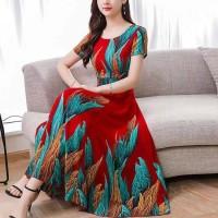 Women Elegant Short Sleeves Long Dress - Red Blue