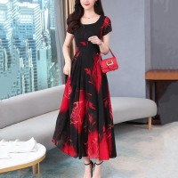 Women Short Sleeves Floral Long Dress - Black Red
