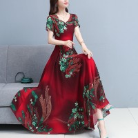 Ladies Short Sleeve Floral chiffon Dress - Red