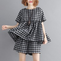 Women Casual Plaid Top and Wide Leg Shorts 2 Piece Set - Black