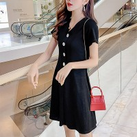 Button Up V Neck Short Sleeves Mini Dress - Black