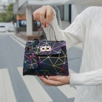 Women Geometric Pattern Solid Color Portable Lock Chain Handbag - Multicolor