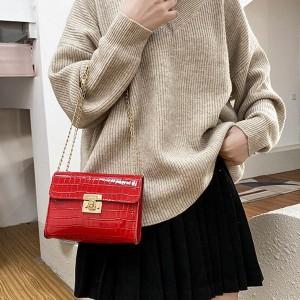 Ladies Stone Pattern Lock Chain Shoulder Bag - Red