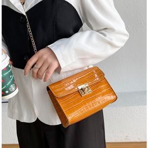 Ladies Stone Pattern Lock Chain Shoulder Bag - Brown