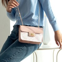 Classic Texture Sequins Leather Delicate Creative Women Shoulder Bag - Pink
