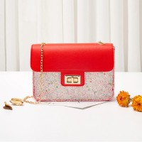 Classic Texture Sequins Leather Delicate Creative Women Shoulder Bag - Red