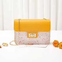 Classic Texture Sequins Leather Delicate Creative Women Shoulder Bag - Yellow