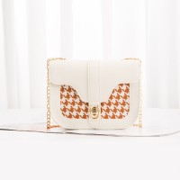 Grid Pattern Chain Strap Women Bag - Cream White