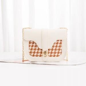 Grid Pattern Chain Strap Women Bag - Cream White
