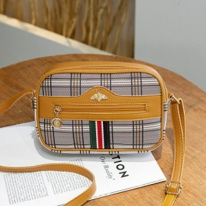 Check Prints Zipper Closure Fancy Messenger Bags - Yellow