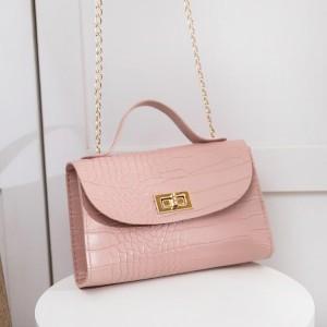 Crocodile Pattern Twist Lock Chain Strap Messenger Bags - Pink