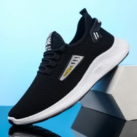 Canvas Rubber Base Breathable Running Sneakers - Black