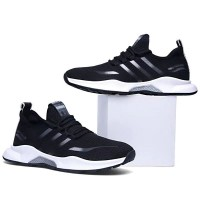 Stripes Soft Breathable Unisex Sneakers - Black
