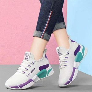 Laced Up Canvas Mesh Style Soft Comfy Wear Sneakers - White