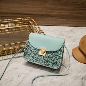 Synthetic Leather Magnetic Lock Women Shoulder Bag - Light Blue