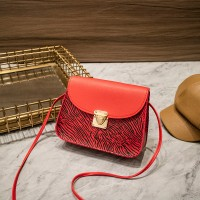 Synthetic Leather Magnetic Lock Women Shoulder Bag - Red