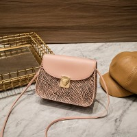 Synthetic Leather Magnetic Lock Women Shoulder Bag - Pink