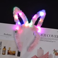 Kids Flashing LED Halloween Party Rabbit Ears Hair Headband - Pink