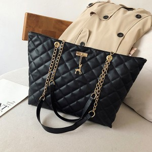 Chain Strap Patchwork Textured Zipper Closure Shoulder Bags - Black