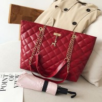 Chain Strap Patchwork Textured Zipper Closure Shoulder Bags - Red