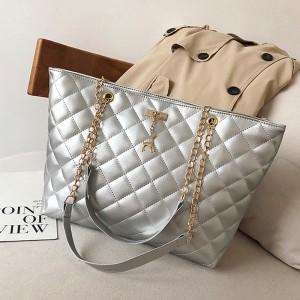 Chain Strap Patchwork Textured Zipper Closure Shoulder Bags - Silver