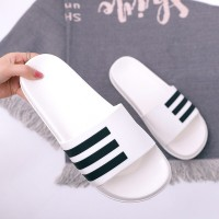 Striped Contrast Flat Casual Wear Unisex Slippers - White