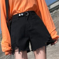 Ripped Straight Style Thread Floral Patch Mini Denim Shorts