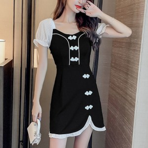 Girls Fashion Simple Short Sleeves Dress - Black And White