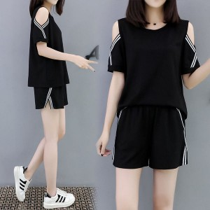 Girls Short Sleeves Casual Set 2 Pieces - Black