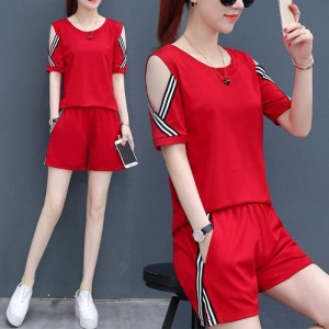 Girls Short Sleeves Casual Set 2 Pieces - Red