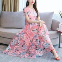 Women Short Sleeves Floral Printed Dress - Light Pink