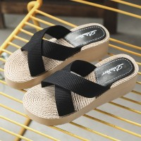 Cross Strap Thick Sole Women Fashion Slippers - Black
