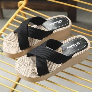 Cross Strap Thick Sole Women Fashion Slippers - Black