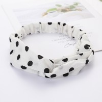 Girls Cross Wide Elastic Casual Polka Dot Headband - White