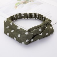 Girls Cross Wide Elastic Casual Polka Dot Headband - Army Green
