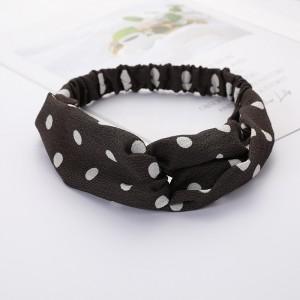 Girls Cross Wide Elastic Casual Polka Dot Headband - Dark Grey