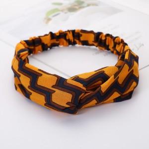 Girls Cross Wide Elastic Casual Plaid Headband - Orange