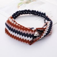 Girls Cross Wide Elastic Casual Striped Headband - Multi Color
